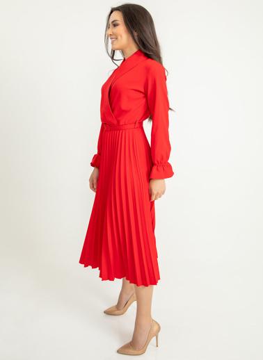 Foremia Atlas Piliseli Ceket Yaka Elbise Uzun Kol Kırmızı